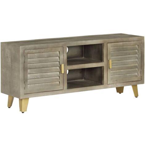 Mueble TV de madera de mango maciza gris y latón 110x30x48 cm