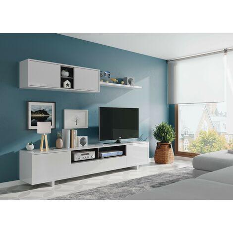Mueble TV de pared 200 cm Blanco brillante y gris antracita   Blanco