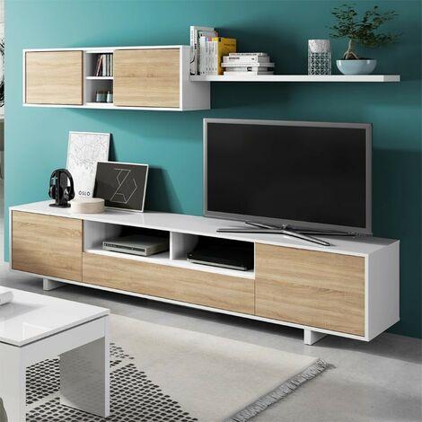 Mueble TV de pared 200 cm Blanco brillante y roble canadiense   Roble claro/blanco