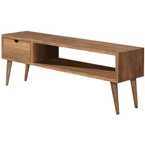 Mueble tv dise?o vintage, con un caj?n y un estante, madera maciza natural