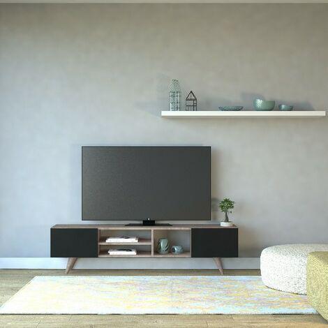 Mueble TV Dore Moderno - con Puertas, Compartimientos - para Salon - Nogal, Negro en Madera, 160 x 29,7 x 40,6 cm