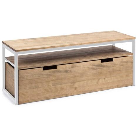 Mueble TV ECO Three Cajón Extraíble Doble Blanco madera efecto vintage estilo industrial Box Furniture - 40X120X49 cm - 18 - Efecto Vintage - Blanco