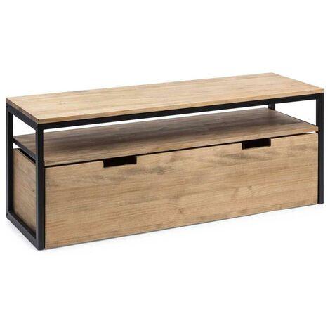 Mueble TV ECO Three Cajón Extraíble Doble Negro madera efecto vintage estilo industrial Box Furniture - 40X120X49 cm - 18 - Efecto Vintage - Negro