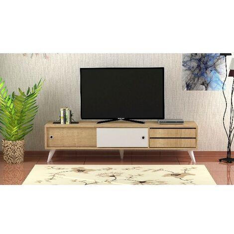 Mueble TV Eduardo - con Puertas, Cajones, Compartimientos - para Salon - Roble, Blanco en Madera, 160 x 40 x 40 cm