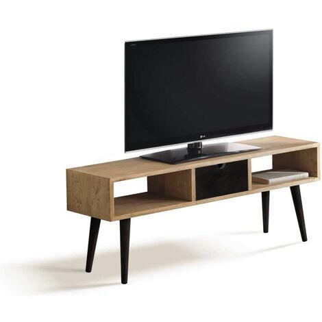 Mueble TV Estilo Industrial-Vintage fabricado en madera maciza de pino 100% natural. Acabado encerado y negro. Patas Metálicas