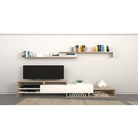 Mueble TV Fenice - con Estantes, Compartimientos - para Salon - en Madera, 150 x 27 x 45 cm