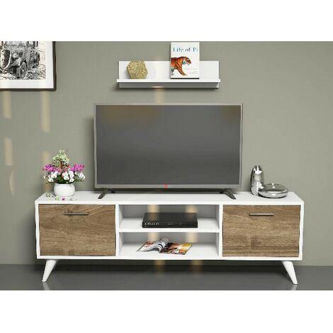 Mueble TV Horus Moderno - con Puertas, Estante, Compartimientos - para Salon - Blanco, Nogal en Madera, 120 x 30 x 48,6 cm