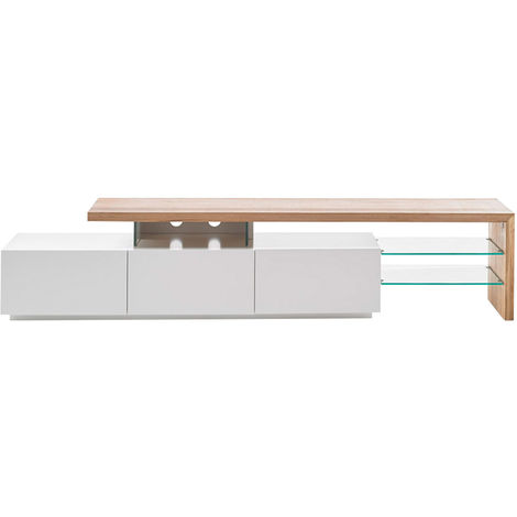 Mueble TV lacado blanco tablero roble 204 cm MEDIA