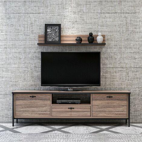 Mueble TV Lace Moderno - con Puertas, Compartimientos, Cajon, Estante - para Salon - Negro en Madera, 150 x 35 x 44 cm