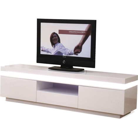 Mueble TV LED RUTH - 170 x 40 x 45.5 cm - Blanco Lacado