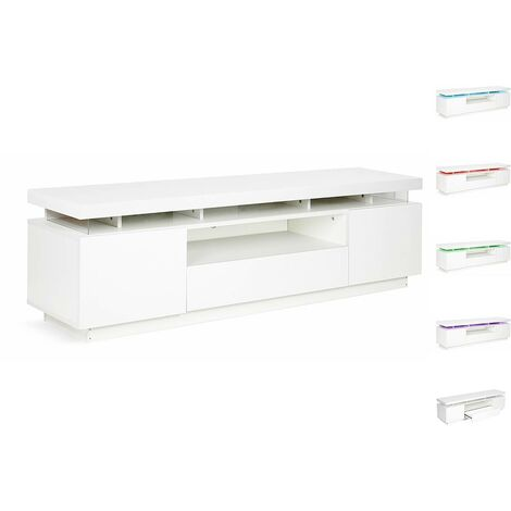 Mueble TV LED Ruth lacado - Blanco
