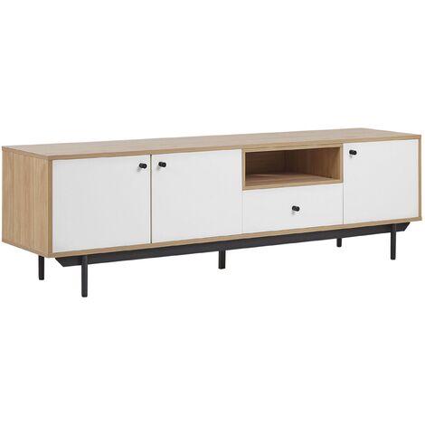 Mueble TV madera clara/blanco ITACA