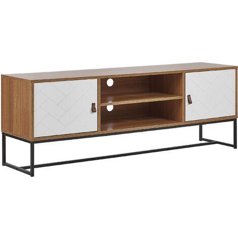 Mueble TV madera clara/blanco NUEVA