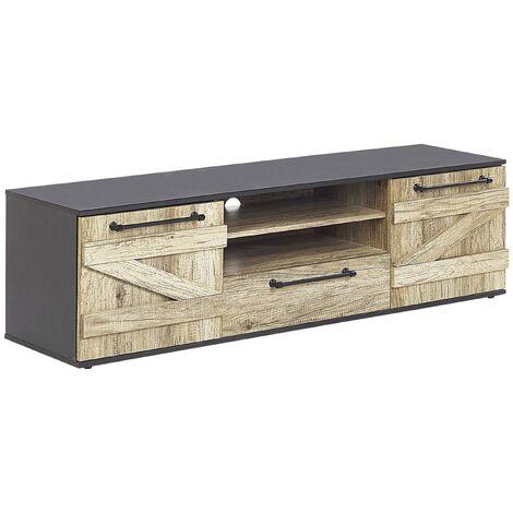Mueble TV madera clara/negro SALTER