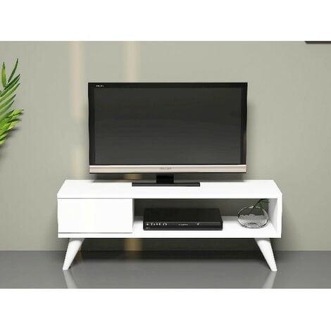 Mueble TV Maya Moderno - con Cajon, Compartimientos - para Salon - Blanco en Madera, 90 x 30 x 33 cm