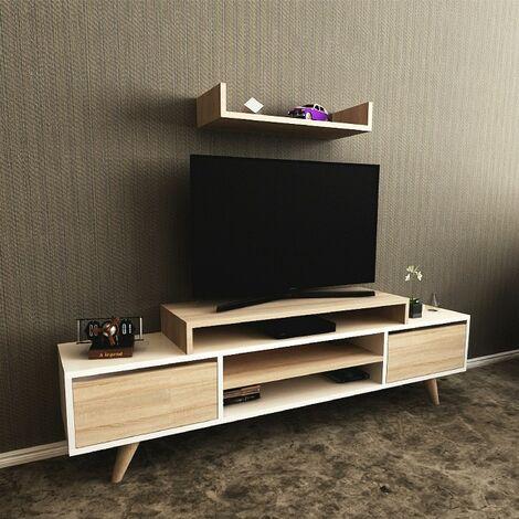 Mueble TV Melis Moderno - con Puertas, Estante, Compartimientos - para Salon - Blanco, Sonoma en Madera, 160 x 29,7 x 48,4 cm