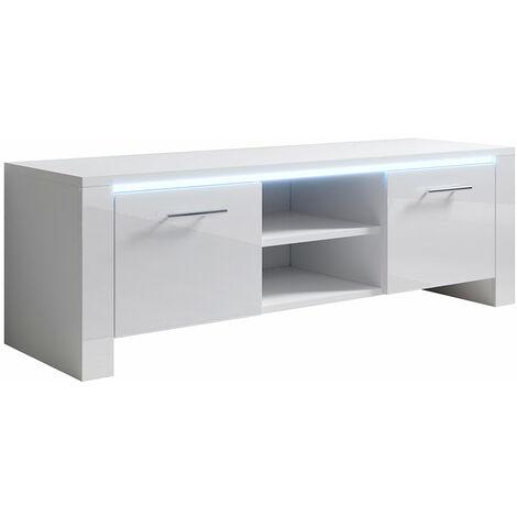 Mueble TV modelo Elina (120x40cm) color blanco con LED RGB