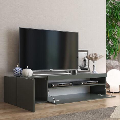 Mueble TV moderno con puerta y cajón abatible 150cm Daiquiri Anthracite M