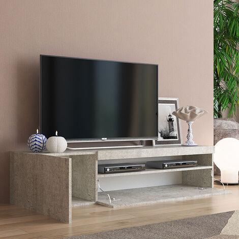 Mueble TV moderno con puerta y cajón abatible 150cm Daiquiri Concrete M