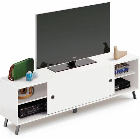 Mueble TV moderno industrial con acabados negros, puertas correderas y baldas, 52x160x40 cm(alto x ancho x profundo), color blanco, colección Kamet