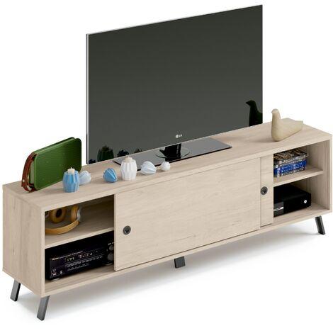 Mueble TV moderno industrial con acabados negros, puertas correderas y baldas, 52x160x40 cm(alto x ancho x profundo), color roble aurora, colección Kamet