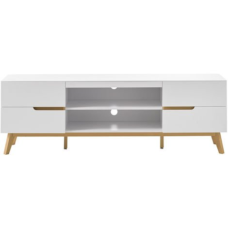 Mueble TV nórdico blanco mate y roble SKIVE