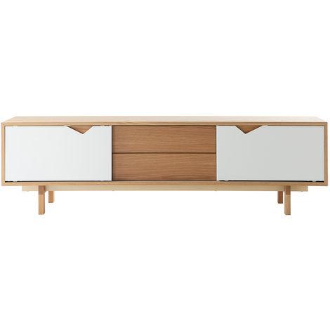 Mueble TV nórdico modular blanco y roble ACOUSTIC