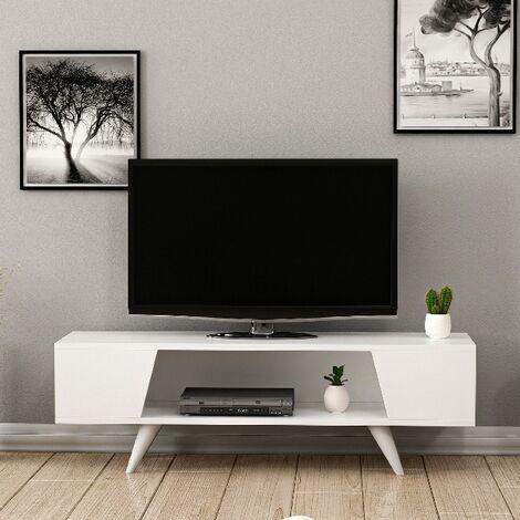 Mueble TV Nouby - con Compartimientos - para Salon - Blanco en Madera, 120 x 35 x 38 cm