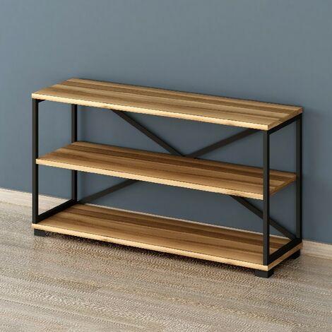 Mueble TV Nuovo - Industrial - con estante - para sala de estar - Nogal, Negro en Madera, Metal, 100 x 30 x 55 cm