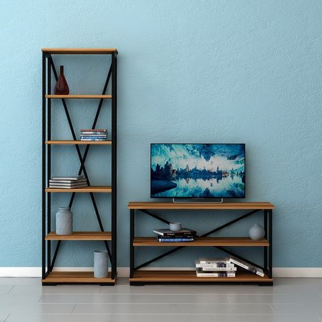 Mueble TV Nuovo - Industrial - con estanteria, estante - para sala de estar - Nogal, Negro en Madera, Metal, 100 x 30 x 55 cm