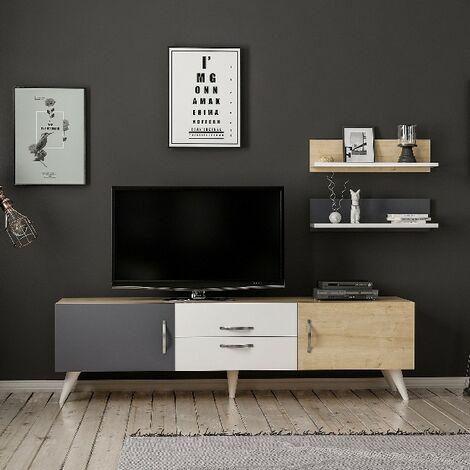 Mueble TV Only Moderno - con Puertas, Estantes, Compartimientos, Cajon - para Salon - Blanco, Roble, Antracita en Madera, 160 x 32 x 45 cm