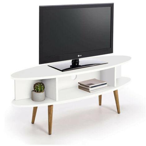 Mueble tv ovalado diseno vintage con estantes, acabado madera DM lacado blanco y patas madera maciza natural.