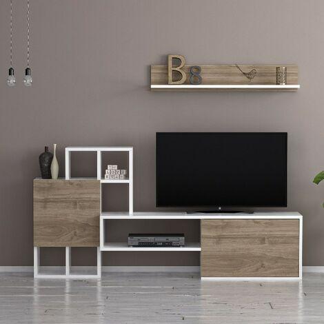 Mueble TV Rinaldo Moderno - con Puertas, Estante, Compartimientos - para Salon - Blanco, Nogal en Madera, 160 x 30 x 78,2 cm