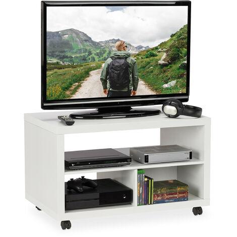Mueble TV Ruedas, Almacenaje DVD, Mesa Televisión, Tablero de Partículas y Plástico, 50 x 80 x 50 cm, Blanco
