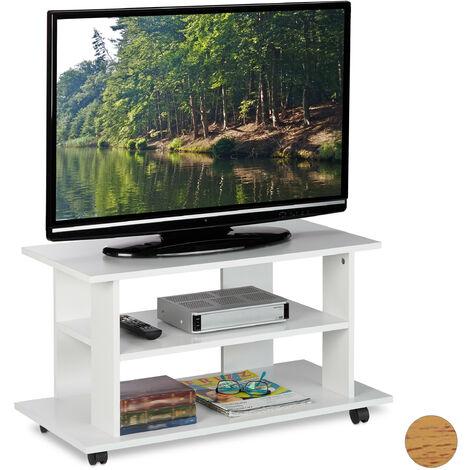 Mueble TV Ruedas con 2 Compartimentos, Mesa Televisión, 45 x 80 x 40 cm, Blanco