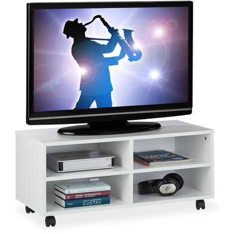 Mueble TV Ruedas con 4 Compartimentos, Mesa Televisión Salón, Tablero de Partículas, 35 x 80 x 35 cm, Blanco