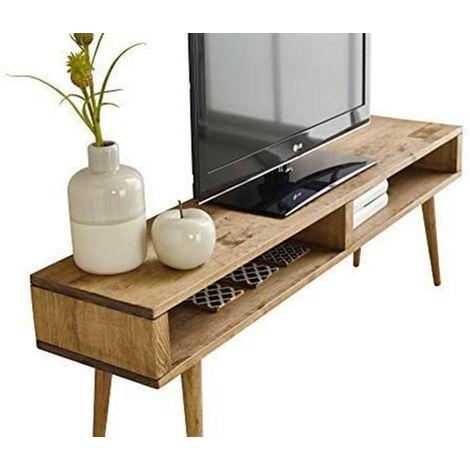 Mueble TV salon diseno Vintage 2 huecos, Madera Maciza Natural, fabricacion Artesanal. 140cm x 43cm x 30cm