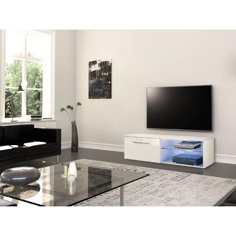 Mueble TV Santiago - con Estantes, Compartimentos Abiertos Y Cerrados - de la Sala de Estar - Blanco en Madera, MDF, Vidrio, 120 x 45 x 37 cm