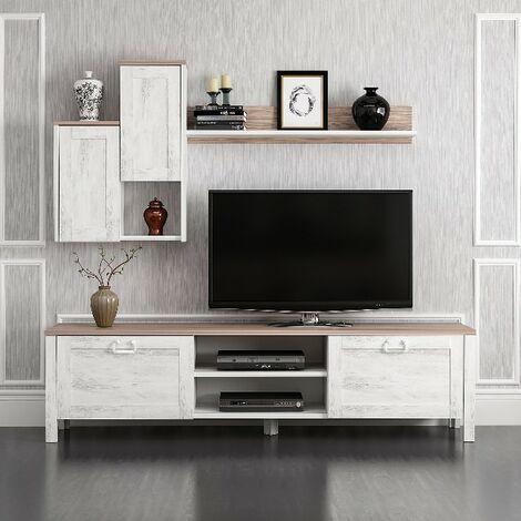 Mueble TV Sento - con Puertas, Estante, Compartimientos - para Salon - Blanco, Nogal en Madera, 160 x 35 x 42 cm
