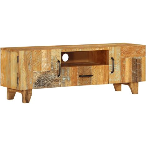 Mueble TV tallado a mano madera maciza reciclada 120x30x40 cm
