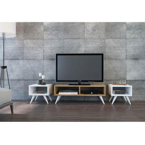 Mueble TV Vinca Moderno - con Mesas de Centro, Compartimientos - para Salon - Blanco, Roble en Madera, 90 x 35 x 32,6 cm