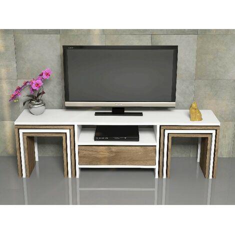 Mueble TV Zygo - con Mesas de Centro, Puerta, Compartimientos - para Salon - Nogal, Blanco en Madera, 140 x 30 x 41,8 cm