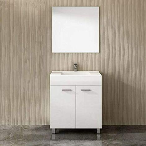 Mueble ULL con lavabo y espejo BLANCO 80CM