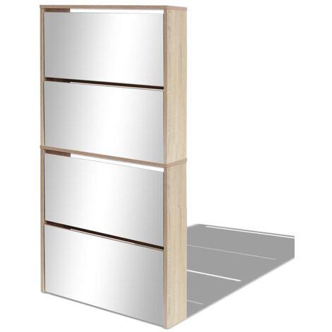 Mueble zapatero 4 cajones con espejo roble 63x17x134 cm