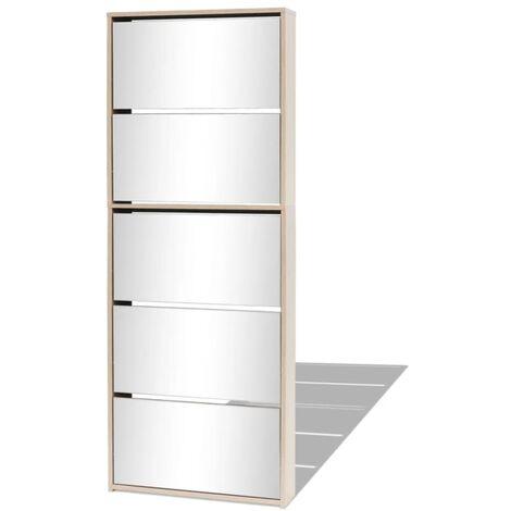 Mueble zapatero 5 cajones con espejo roble 63x17x169,5 cm