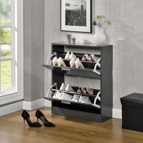 Mueble zapatero - 63 x 24 x 81cm - Armario 2 Puertas con Baldas - para Guardar Zapatos - Aglomerado - Gris