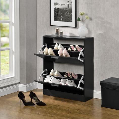 Mueble zapatero - 63 x 24 x 81cm - Armario 2 Puertas con Baldas - para Guardar Zapatos - Aglomerado - Negro