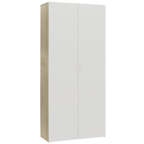 Mueble zapatero aglomerado blanco y roble Sonoma 80x35,5x180 cm