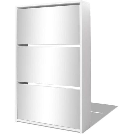 Mueble zapatero blanco 3 compartimentos con espejo 63x17x102,5 cm