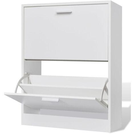 Mueble zapatero blanco con 2 compartimentos